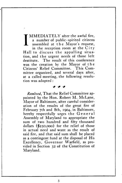 """Report of the """"Citizens' relief committee"""" appointed after the great Baltimore fire, February 7 and 8, 1904."""