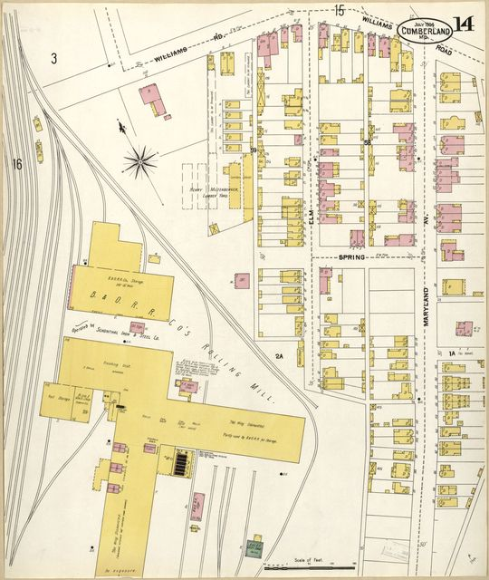 Sanborn Fire Insurance Map from Cumberland, Allegany County, Maryland.