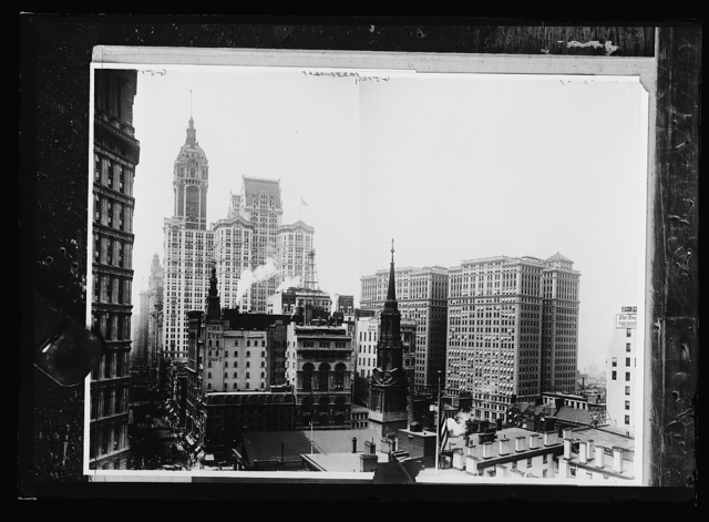 [Singer Building, City Investing Building, and Hudson Terminal Building with Trinity Church steeple, New York, N.Y.]