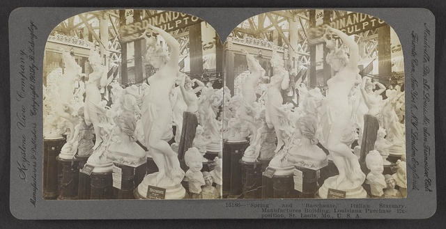 """Spring"" and ""Bacchante,"" Italian statuary, Manufactures Building, Louisiana Purchase Exposition, St. Louis, Mo., U. S. A."