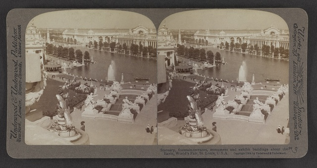 Statuary, fountain-terraces, monument and exhibit buildings about the basin, World's Fair, St. Louis, U. S. A.