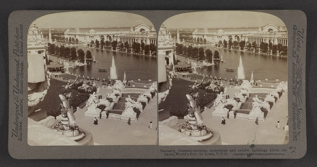 Statuary, fountain-terraces, monument and exhibit buildings about the basin, World's Fair, St. Louis., U. S. A.