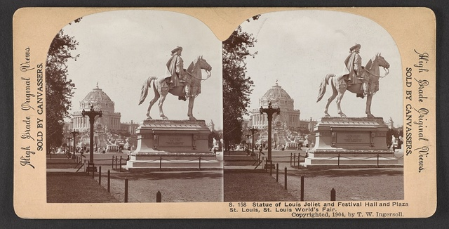 Statue of Louis Joilet and Festival Hall  and Plaza St. Louis, St. Louis World's Fair