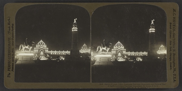 Statue of Louis Joliet, Louisiana Purchase Monument and Festival Hall at night, Louisiana Purchase Exposition, St. Louis, U. S. A.