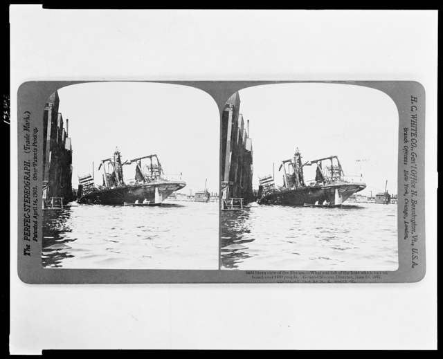 Stern view of the Slocum. What was left of the boat which had on board over 1400 people. General Slocum Disaster, June 15, 1904