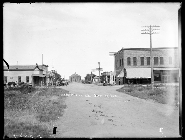 Street scene at Overton, Nebraska looking north from the railroad.