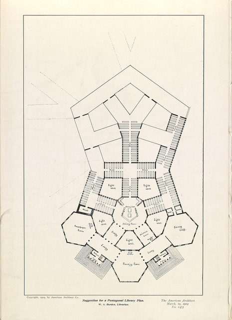 Suggestion for a pentagonal library plan W.A. Borden, librarian.