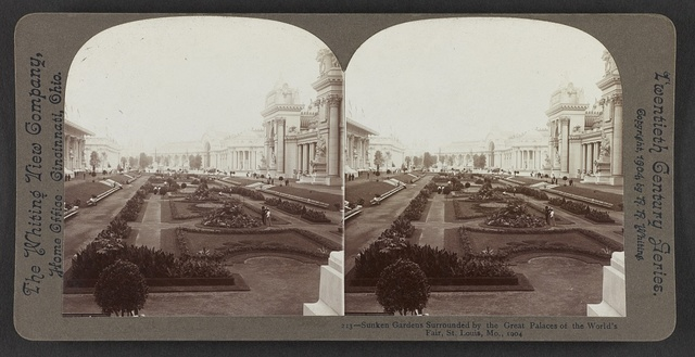 Sunken Gardens surrounded by the great palaces of the World's Fair, St. Louis, Mo.