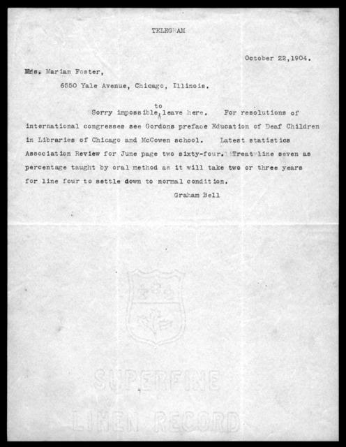 Telegram from Alexander Graham Bell to Mrs. Marian Foster, October 22, 1904
