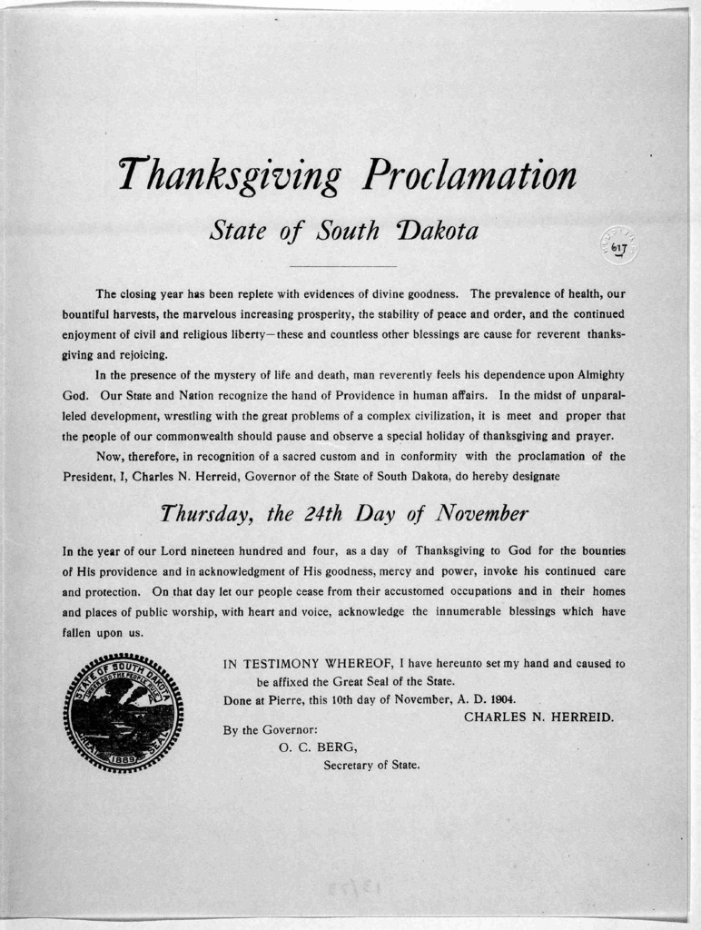 Thanksgiving proclamation 1904 State of South Dakota. [Pierre 1904].