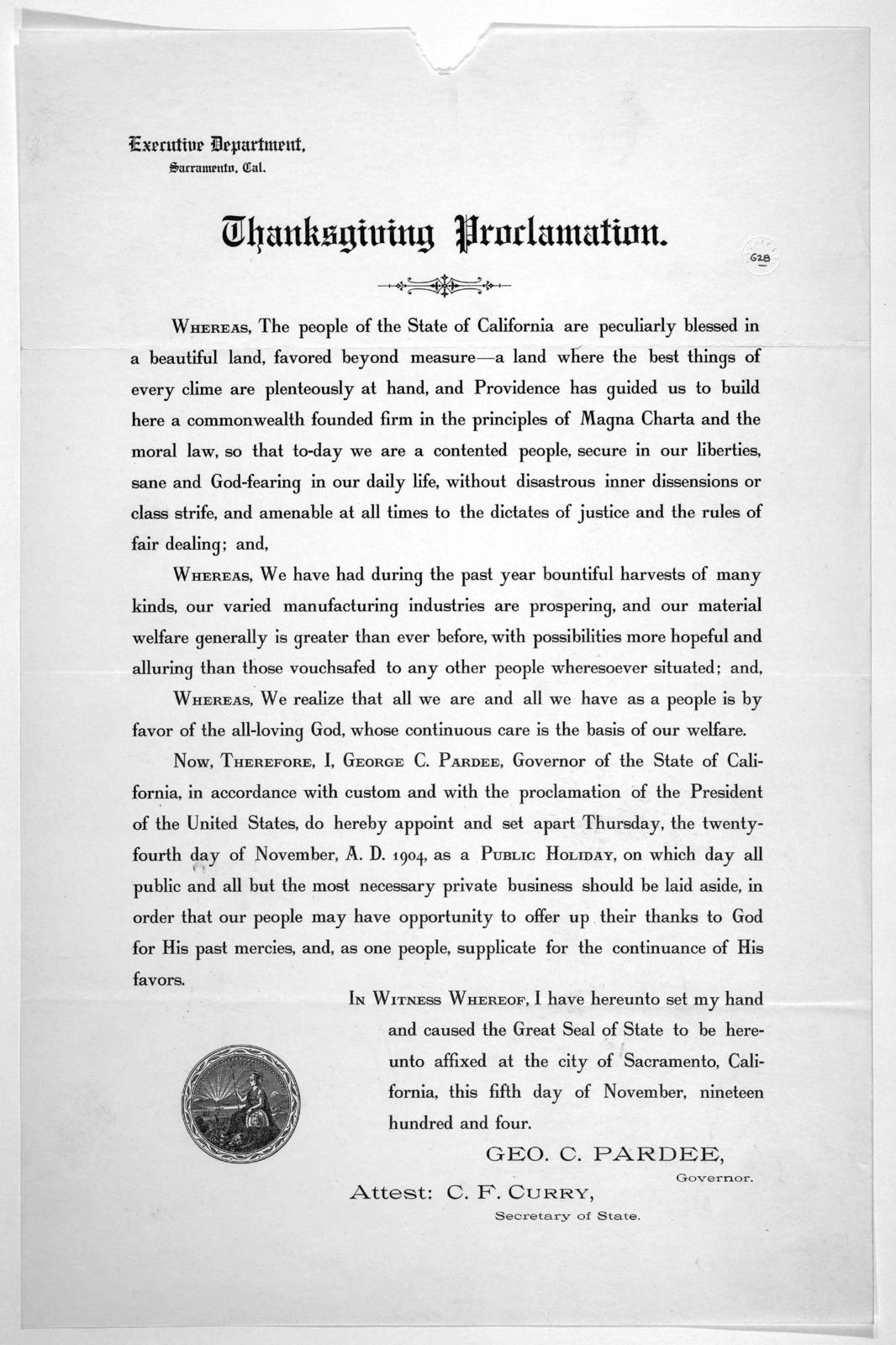 Thanksgiving proclamation. November 5th 1904.