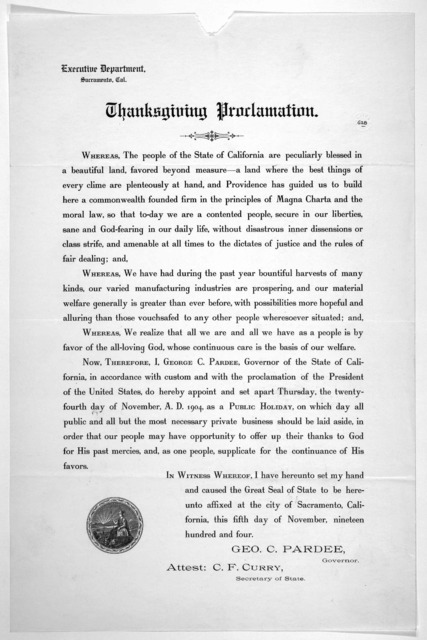 Thanksgiving proclamation. November 5th 1904.