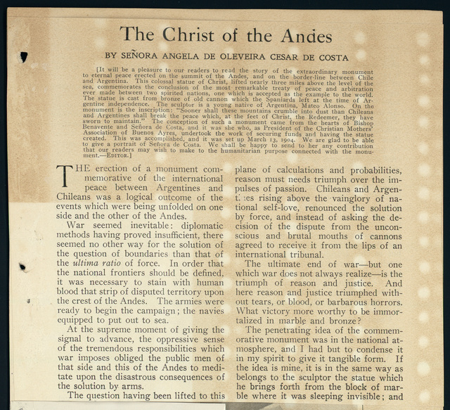 The Christ of the Andes by Senora Angela de Costa