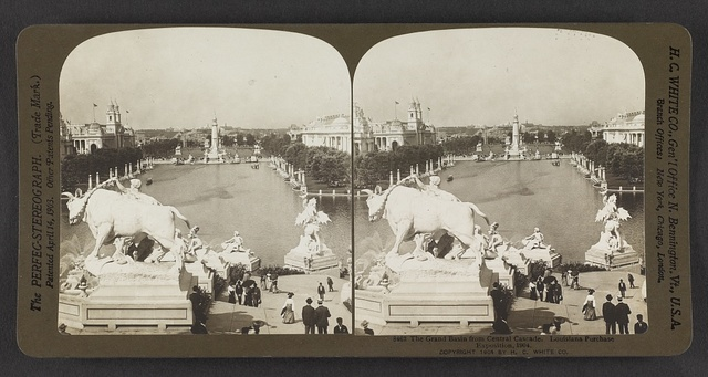 The Grand Basin from Central Cascade. Louisiana Purchase Exposition, 1904
