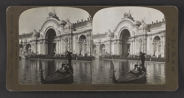 The great entrance to the Palace of Manufactures, World's Fair, St. Louis, U. S. A.