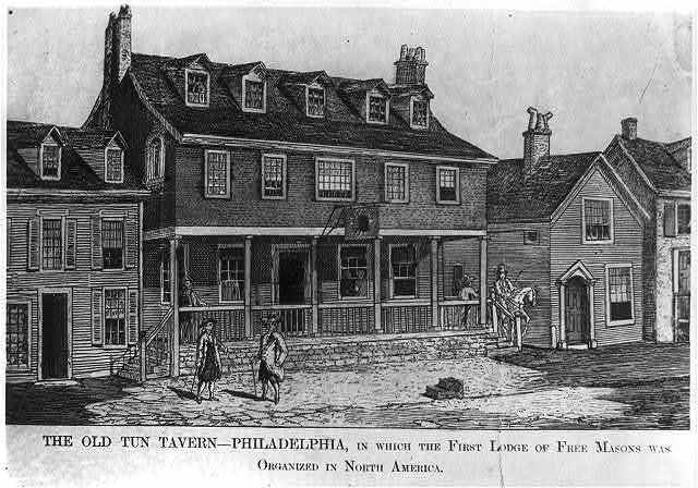 [The Old Tun Tavern, Philadelphia, in which the first lodge of Free Masons was organized in North America]