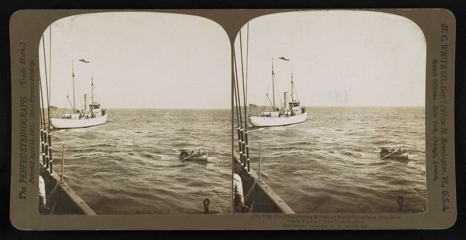 """The pilot coming aboard at Sandy Hook from pilot boat """"New Yorker,"""" New York Harbor"""