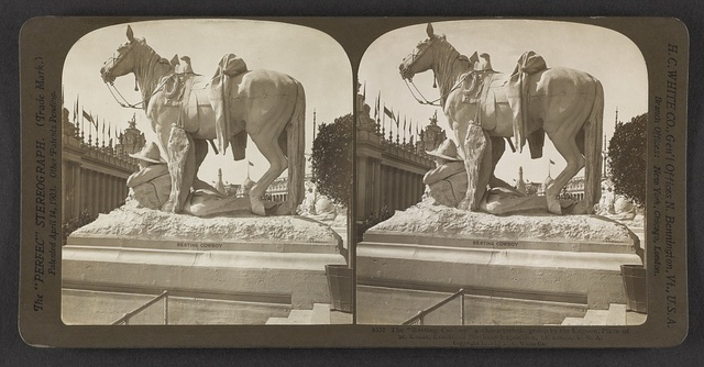 """""""The Resting Cowboy,"""" a characteristic group by the lagoon, Plaza of St. Louis, Louisiana Purchase Exposition, St. Louis, U. S. A."""