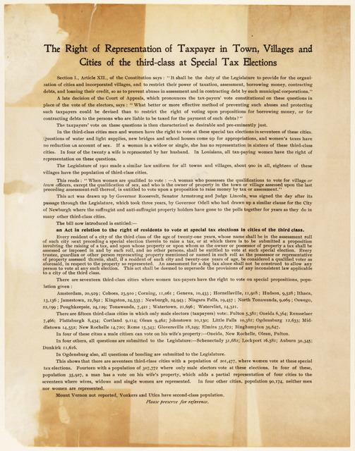 The Right of Representation of Taxpayer in Town, Villages and Cities of the third-class at Special Tax Elections