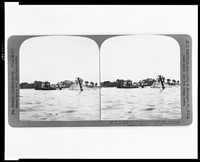 The Slocum Disaster, New York Harbor, June 15, 1904--Gen'l Slocum the morning after the disaster, bodies on the beach showing in the background
