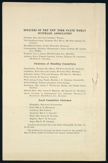 The Thirty-Sixth Annual Convention of the New York State Woman Suffrage Association, Auburn, New York
