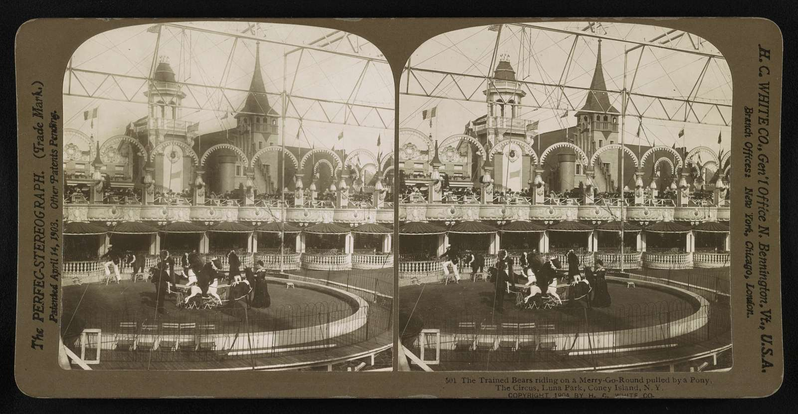 The trained bears riding on a Merry-Go-Round pulled by a pony. The Circus, Coney Island Island, New York
