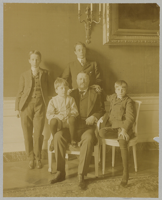 [Theodore Roosevelt, full-length portrait, seated, facing front, with his four sons posed around him]