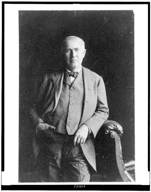 [Thomas Alva Edison, three-quarter length portrait, standing, facing front]