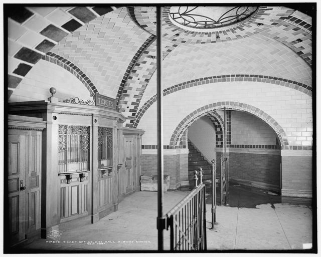 Ticket office, City Hall subway station, New York