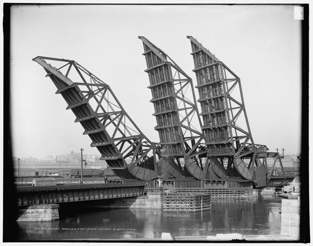 Tower bridges, Fort Point Channel, Boston, Mass.