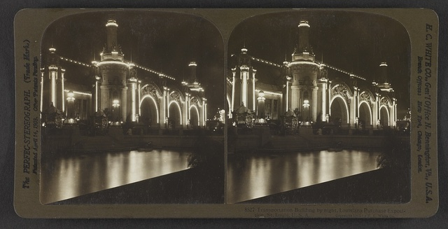 Transportation Building by night, Louisiana Purchase Exposition, St. Louis, U. S. A.