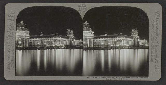 Varied Industries Building. Night. Louisiana Purchase Exposition