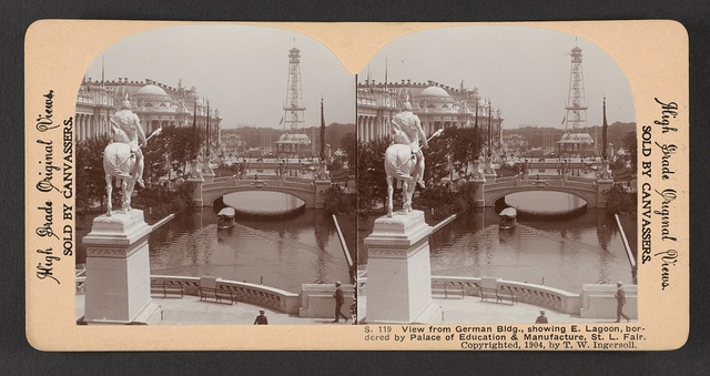 View from German Bldg., showing E. Lagoon, bordered by Palace of Education & Manufacture, St. L. Fair