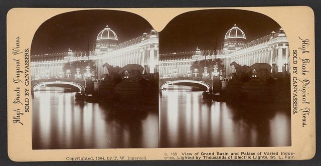 View of Grand Basin and Palace of Varied Industries, lighted by thousands of electric lights, St. Louis Fair