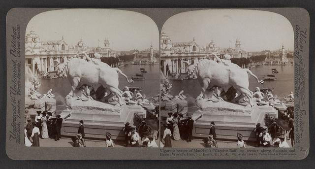 """Vigorous beauty of  MacNeil's """"Captive Bull"""" on terrace above fountain and basin, World's Fair, St. Louis"""