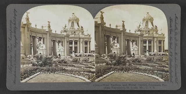 West pavilion and floral garden, Louisiana Purchase Exposition, St. Louis, Mo., U. S. A.