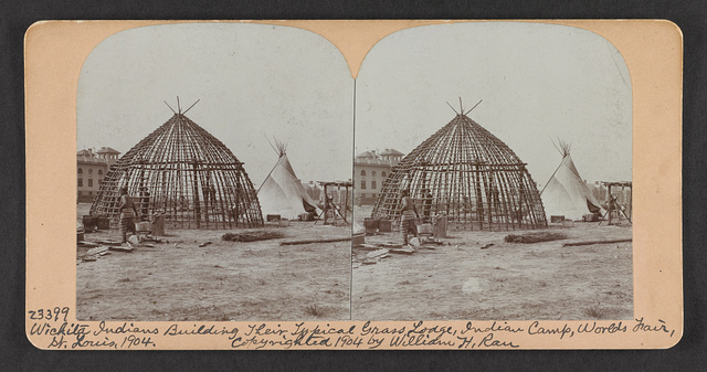 Wichita Indians building their typical grass lodge, Indian camp, World's Fair, St. Louis, 1904