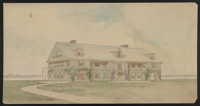 [William C. Atwater house, Westhampton Beach, New York. Front. Perspective projection] / H. Bacon, des.