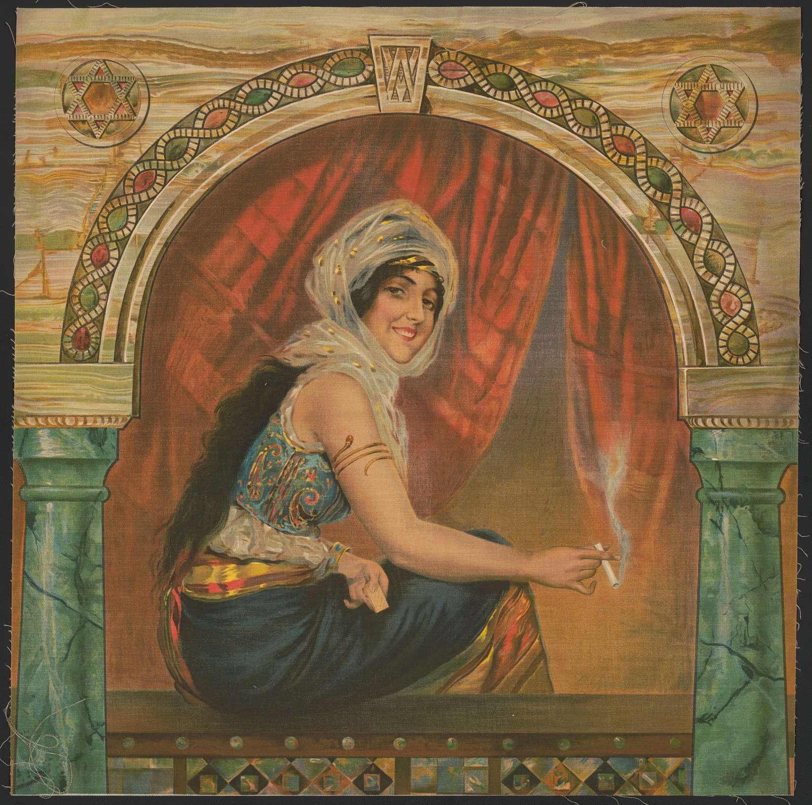 Woman sitting in window smoking