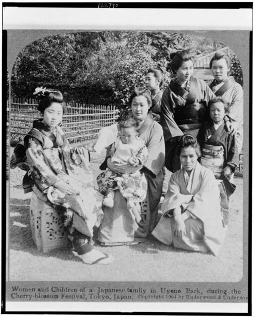 Women and children of a Japanese family in Uyeno park, during the Cherry-blossom festival, Tokyo, Japan