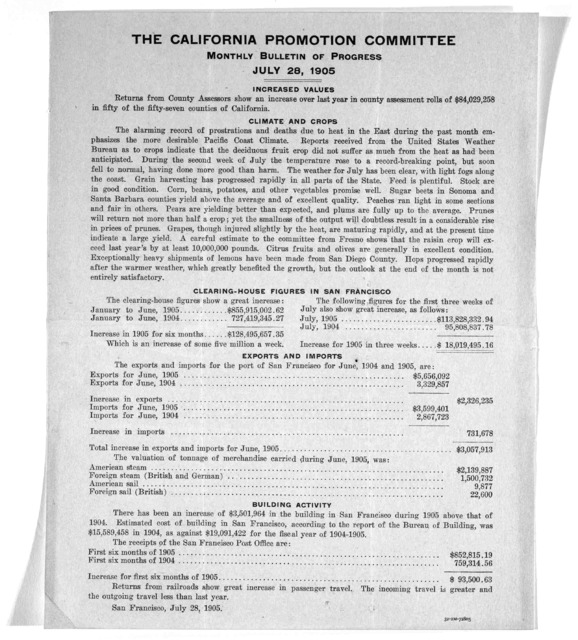 [2 circulars of the California Promotion Committee] July 1905.