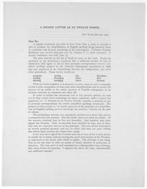 A Second Letter As To Twelve Words New York June 30 1905 Picryl