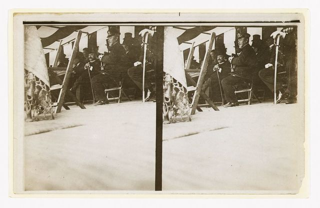 [Admiral Togo seated in a tent with government officials, probably during his visit to Tokyo in Oct., 1905]