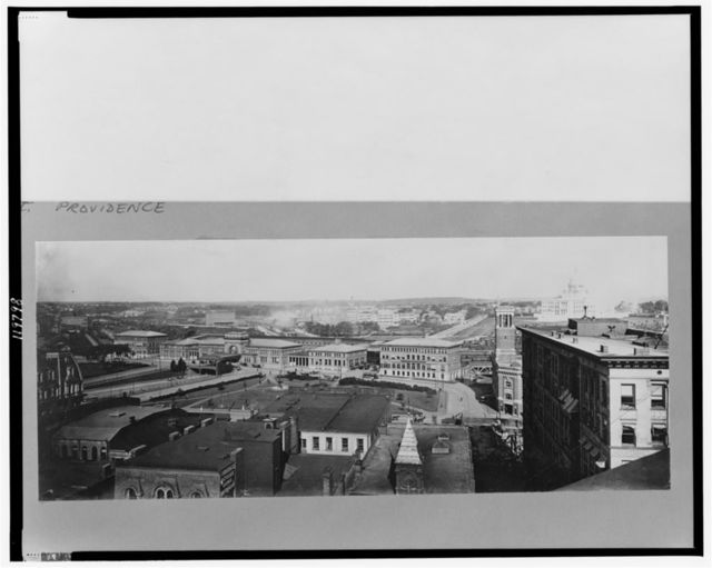 [Aerial view of Providence, Rhode Island, with the state capitol in right background]
