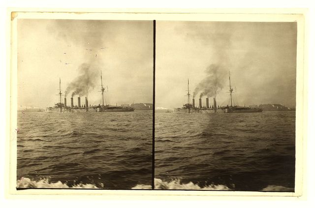 [An American cruiser arriving in New York, probably at the time of the Portsmouth Peace Conference]