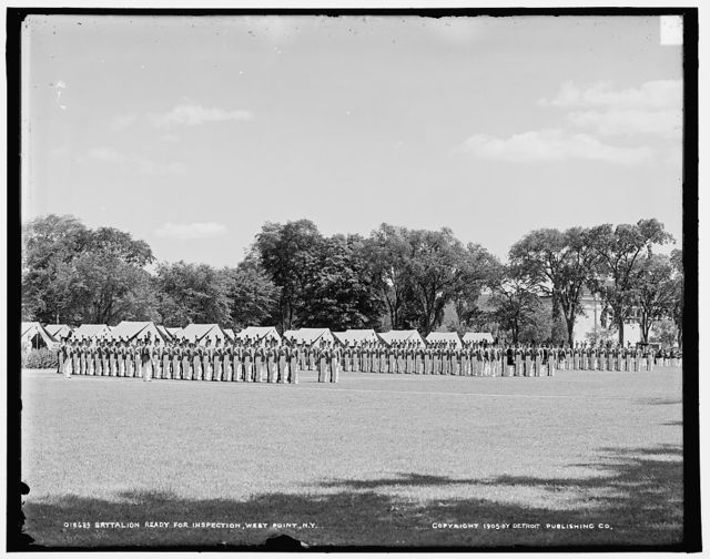 Battalion ready for inspection, [United States Military Academy], West Point, N.Y.