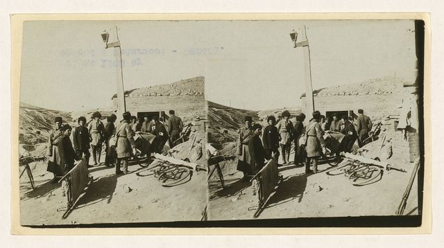 [Bicycle stretchers bringing Russian wounded to a surgical station -- siege of Port Arthur]