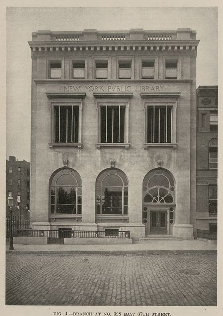 Branch at no. 328 East 67th Street, New York Public Library. Babb, Cook & Willard, architects