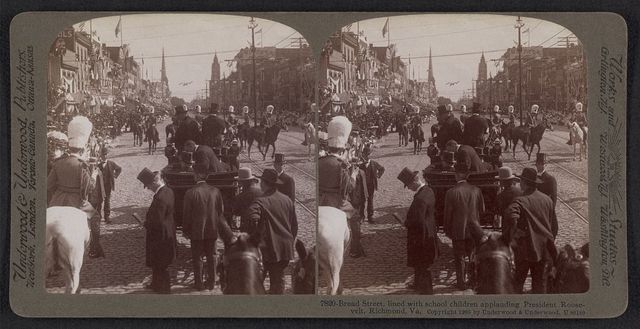 Broad Street, lined with school children applauding President Roosevelt, Richmond, Va.