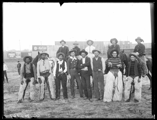 Bunch of genuine old time cowboys and bronco busters at Denver, Colorado.